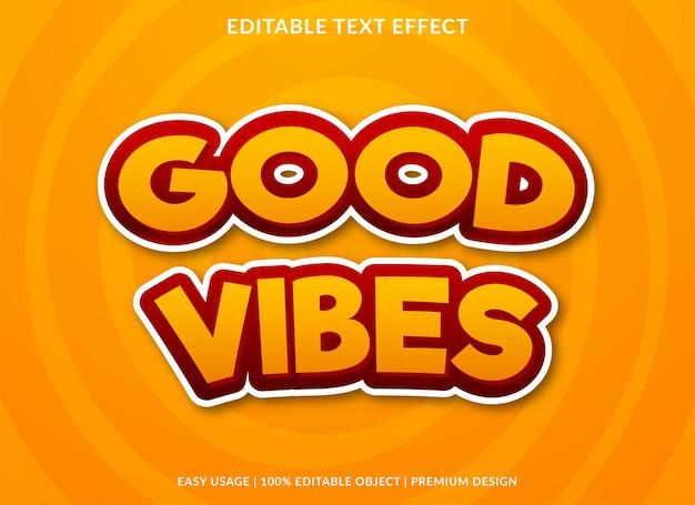 Guter vibes texteffekt bearbeitbare vorlage premium-stil