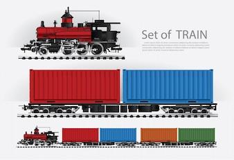 Güterzug auf einer Eisenbahnillustration