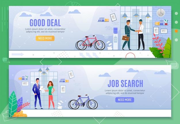 Gutes geschäft und job search cartoon banner flat set