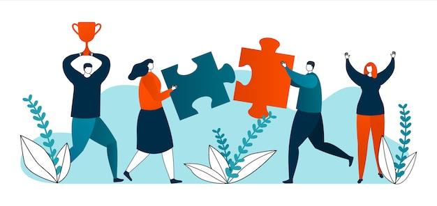 Gutes geschäftskonzept, geschäftsleute, die gute ergebnisse für ihre idee und ihren erfolg präsentieren