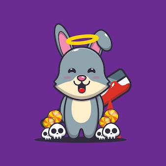 Gutes oder schlechtes kaninchen mit blutiger machete süße halloween-cartoon-illustration