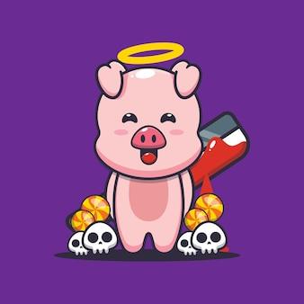 Gutes oder schlechtes schwein mit blutiger machete süße halloween-cartoon-illustration