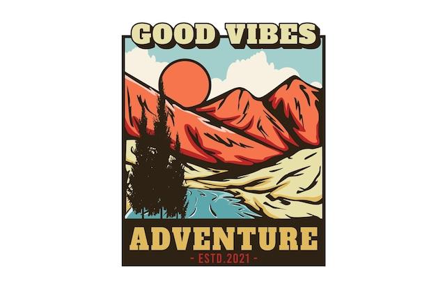 Gutes vibes-abenteuer handgezeichnetes illustrationsdesign