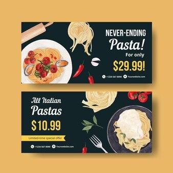 Gutscheinvorlage mit pasta cancept, aquarell-stil