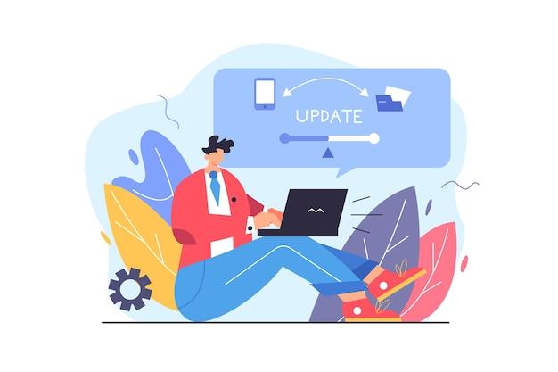 Guy aktualisiert programm auf laptop großen virtuellen bildschirm aus laptop isoliert auf weißem hintergrund flache illustration