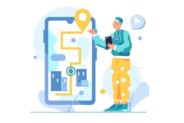 Guy bewegt sich auf einem großen virtuellen telefon, pfad und pin, telefon in der hand isoliert