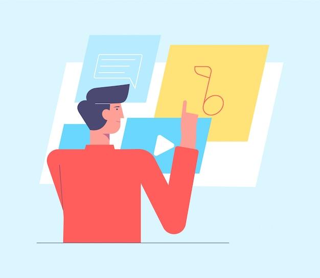 Guy durchsuchen soziale netzwerke. mann, der beitrag macht und glückliche momente mit ihren anhängern teilt. social media einfluss und sucht. illustration im flachen cartoonstil.