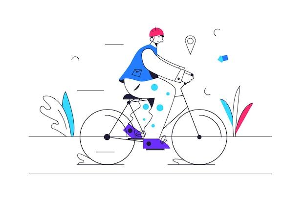 Guy fährt ein fahrrad auf einem radweg, der eine helmillustration trägt