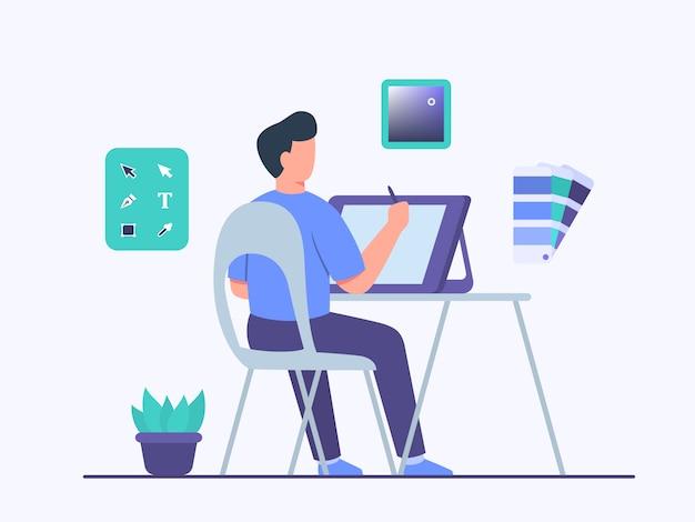 Guy illustrator charakter sitzen stuhl arbeit auf tablet erstellen design illustration verwenden werkzeug anwendungsprogramm mit flachen cartoon-stil.