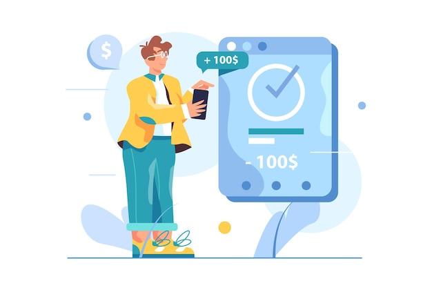 Guy ist mit geldtransfer über mobile anwendung beschäftigt, virtueller bildschirm mit zahlung isoliert