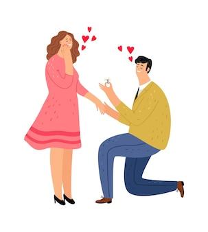 Guy macht dem mädchen einen vorschlag. glückliche frau und mann mit ring. romantische datumsillustration