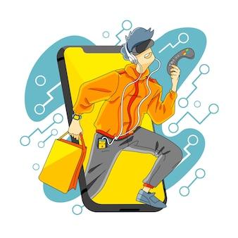 Guy-shopping-gadget am cyber monday