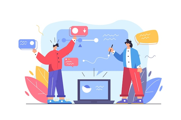 Guy und girl steuern prozesse auf einer großen virtuellen anzeige, die aus einem laptop herauskommt, der auf der flachen illustration des weißen hintergrunds isoliert wird