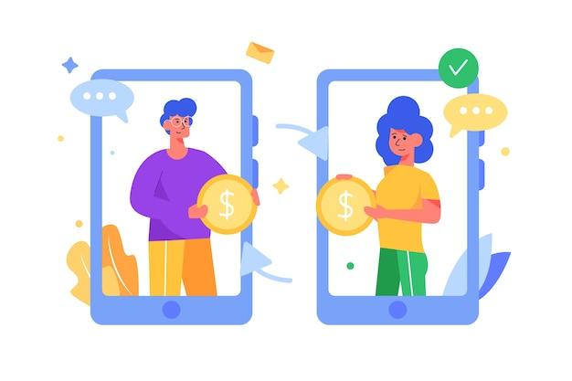 Guy und girl überweisen geld über telefone über ein isoliertes drahtloses netzwerk an sich selbst