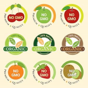 Gvo-frei gvo-frei und bio-garantie tag label emblem abzeichen für früchte erdbeer kiwis orange apfel kirsche