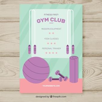 Gym center flyer mit verschiedenen aktivitäten