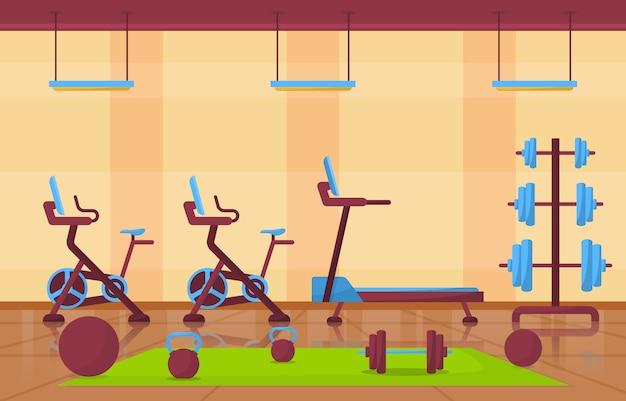 Gym center interior sport club fitness gewicht bodybuilding-ausrüstung abbildung