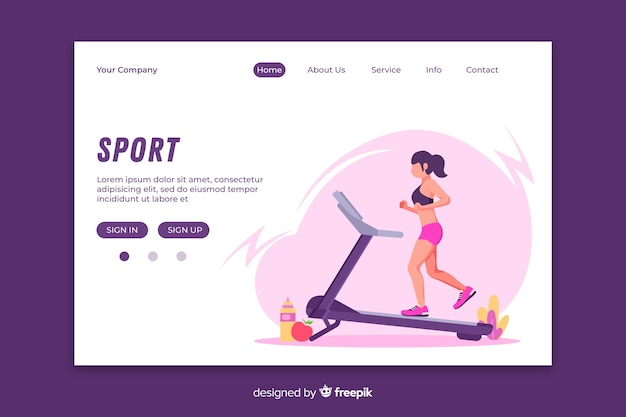 Gym center landing page vorlage