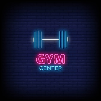 Gym center neon signs style text