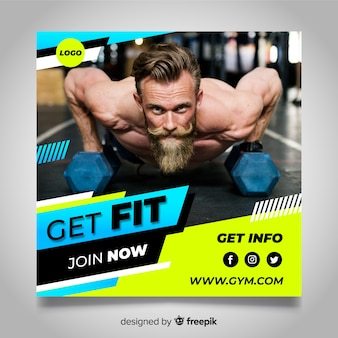 Gym club banner mit foto