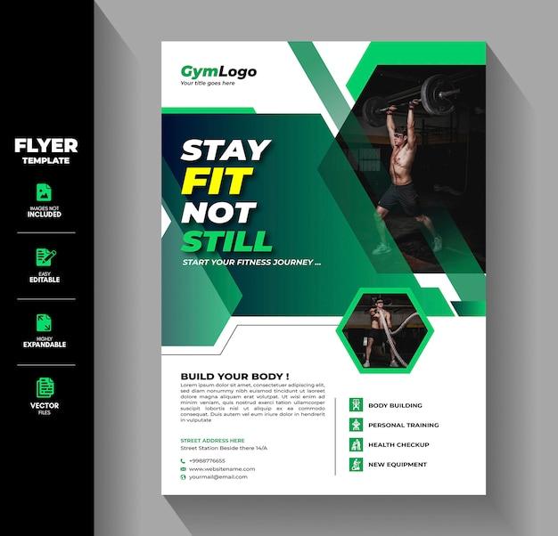 Gym fitness flyer broschüre faltblatt vorlage