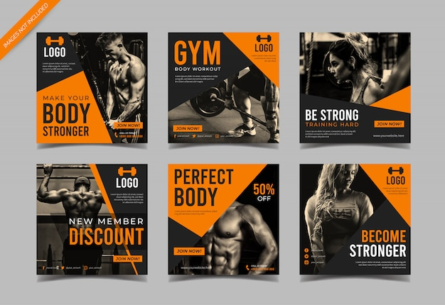 Gym fitness social media beitragsvorlage