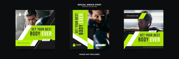Gym fitness social media post sammlung Premium Vektoren