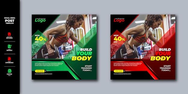 Gym fitness social media post square banner vorlage