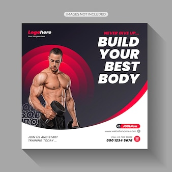 Gym fitness übung workout social media post vorlage