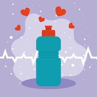 Gym flasche und herzen