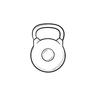 Gym kettlebell handsymbol gezeichneten umriss doodle. gewichtheben, fitness- und fitnessgeräte, bodybuilding-konzept