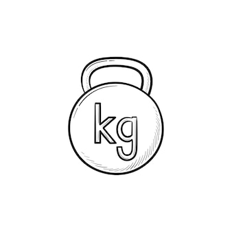 Gym kettlebell handsymbol gezeichneten umriss doodle. gewichtheben, fitness- und fitnessgeräte, sportkonzept