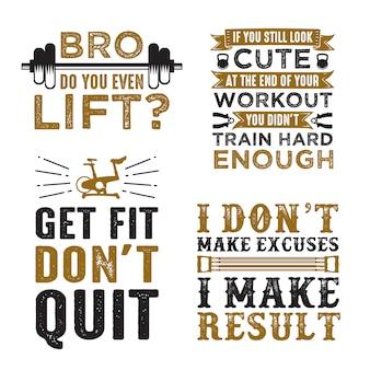 Gym saying & quote set