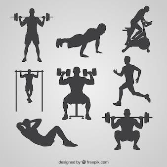 Gym-silhouetten sammlung