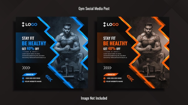 Gym-social-media-post-design-paket mit blauen und orangefarbenen dynamischen formen mit lichtern.