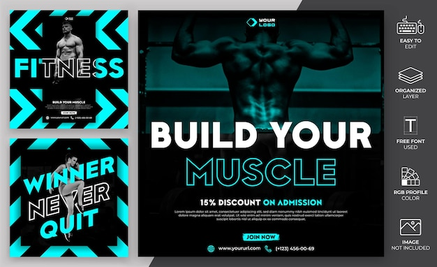 Gym social media post template design. die social media-vorlage für das fitnessstudio kann für werbezwecke verwendet werden