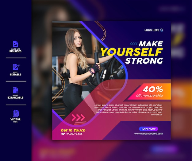 Gym social media post vorlage premium