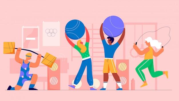 Gym sport fitness menschen flache illustration