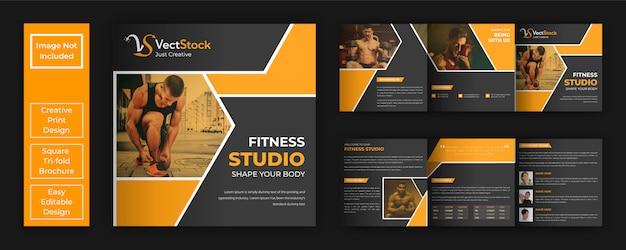 Gym und fitness quadratische broschüre vorlage