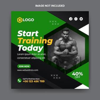 Gym und fitness social media banner instagram post vorlage