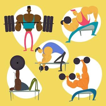 Gym workout zeichensatz. eignung-mann-abbildung ansammlung. flache vektor-illustration
