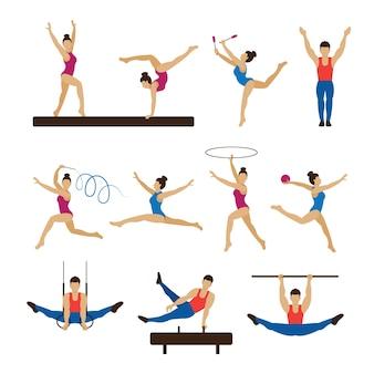Gymnastik athleten, männer und frauen set Premium Vektoren