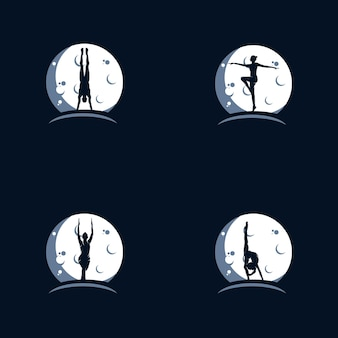 Gymnastik auf dem mond-logo-design-vorlage