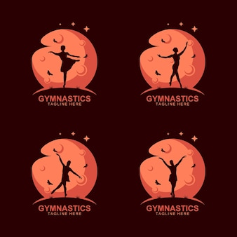 Gymnastik-silhouette-logo auf dem mond mit schmetterling