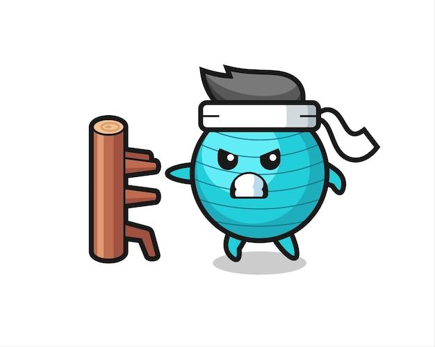 Gymnastikball-cartoon-illustration als karate-kämpfer, niedliches design für t-shirt, aufkleber, logo-element