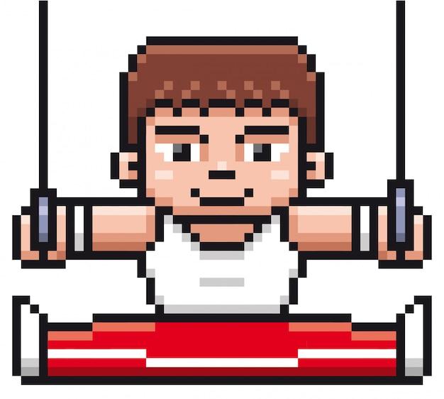 Gymnastikspieler der karikatur - pixelauslegung