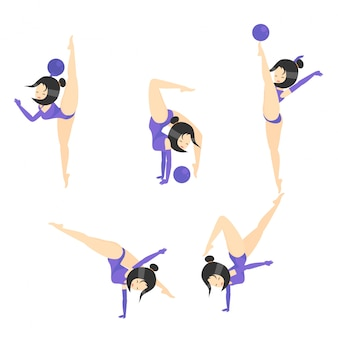 Gymnastikvektor-karikaturillustration