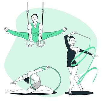 Gymnastische konzeptillustration