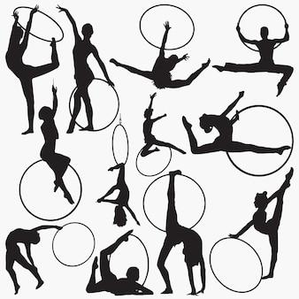 Gymnastische rhythmische reifen-silhouetten