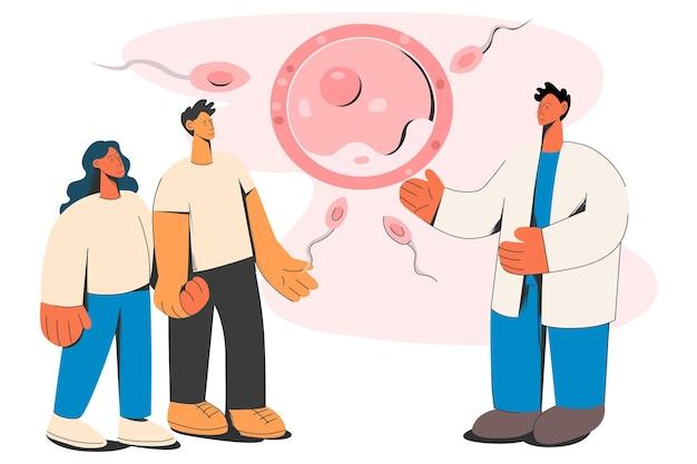 Gynäkologe berät paar zukünftige eltern